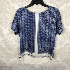 The Limited Blue Geometric Hi Lo Blouse